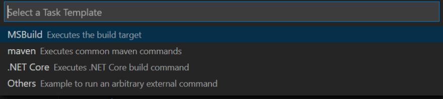 Select .NET Core option