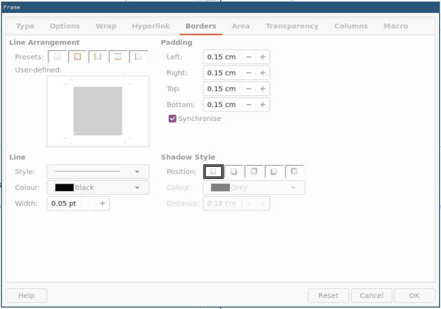 Window showing border customisation options
