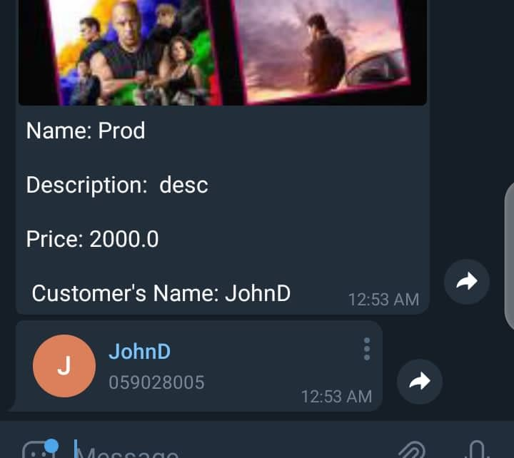 A screenshot showing what the bot sends to the business owner when a new order is placed.