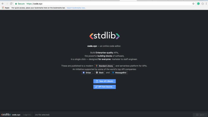 Sign Up using Code.xyz-online API editor