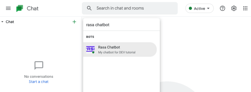 Starting new conversation with Rasa Chatbot