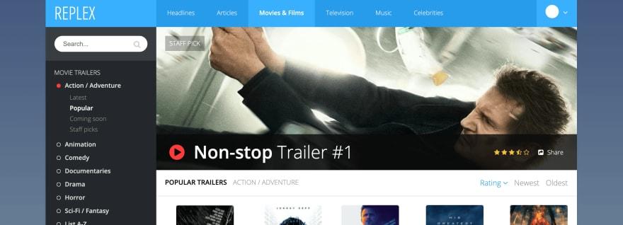 Responsive Movie App UI