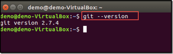 confirming git install successfully using git --version on Ubuntu