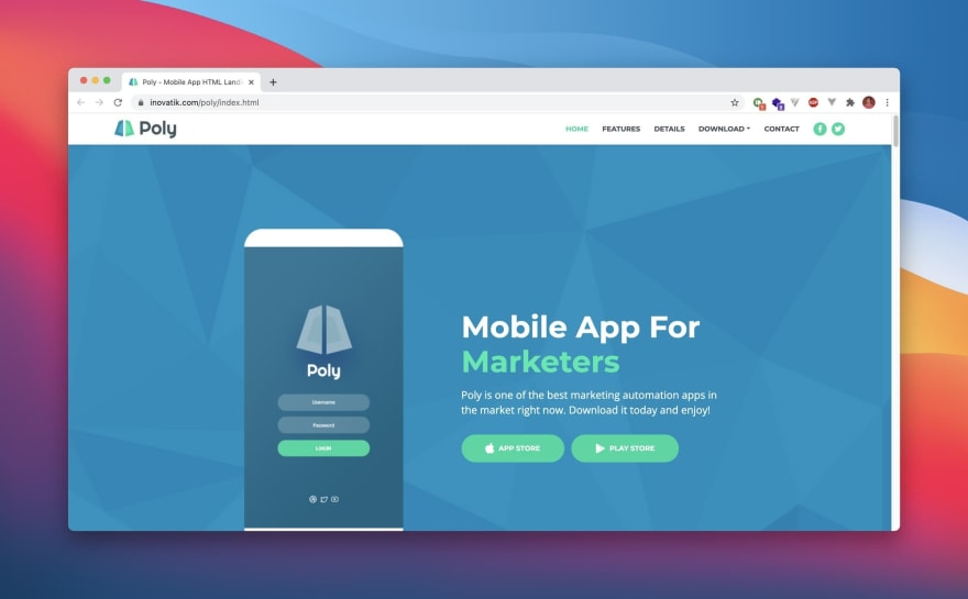 Poly HTML Template