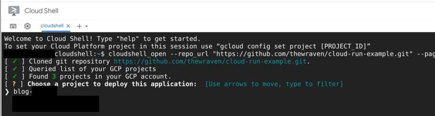 Primero se revisa el proyecto de Google Cloud donde se construirá el servicio