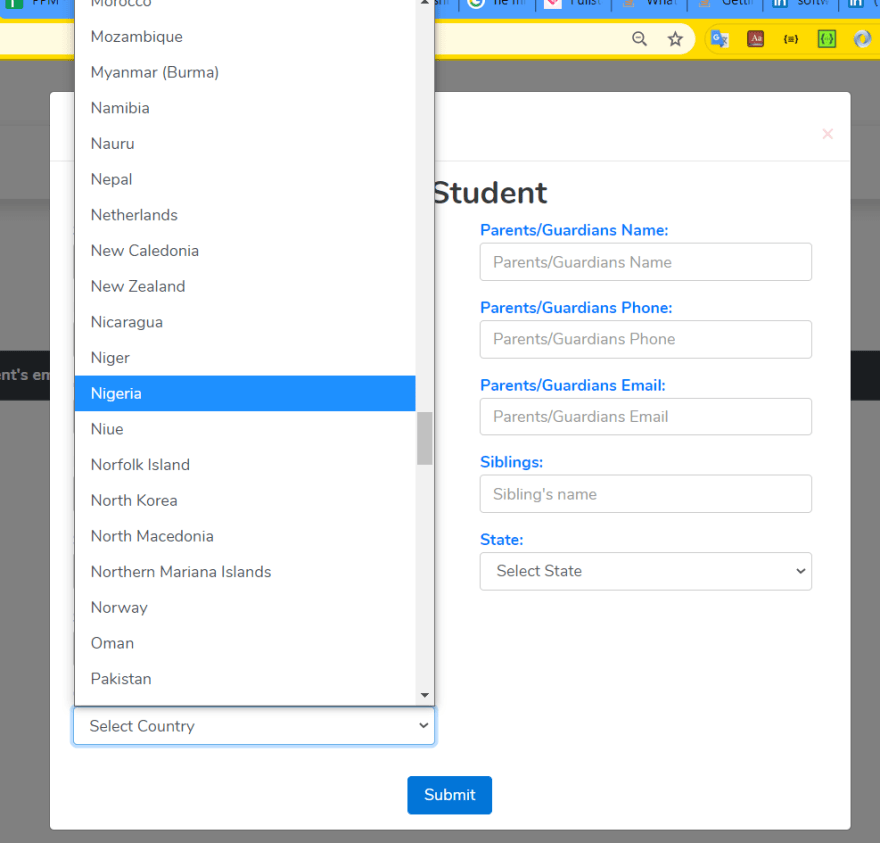 a form with country list