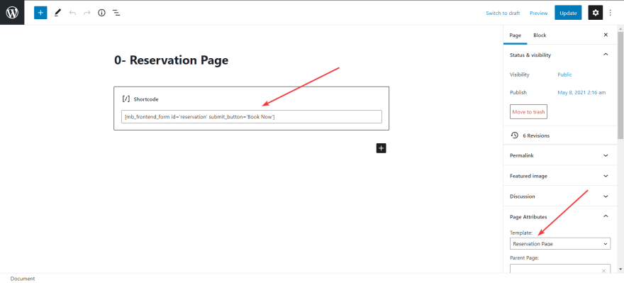 paste the shortcode of the field group to the content of the page to show the field to the reservation page