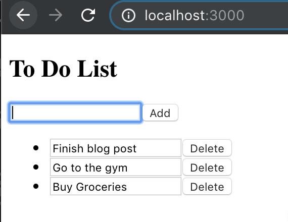 Working todo list screenshot