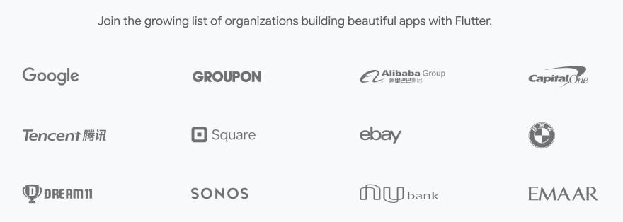 Companies using Flutter