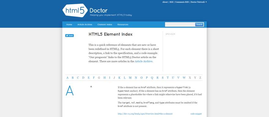 HTML5 Element Index