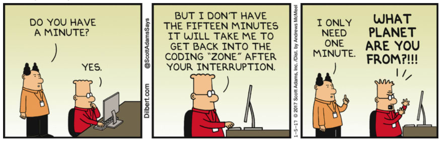 Dilbert comic on interruptions at work