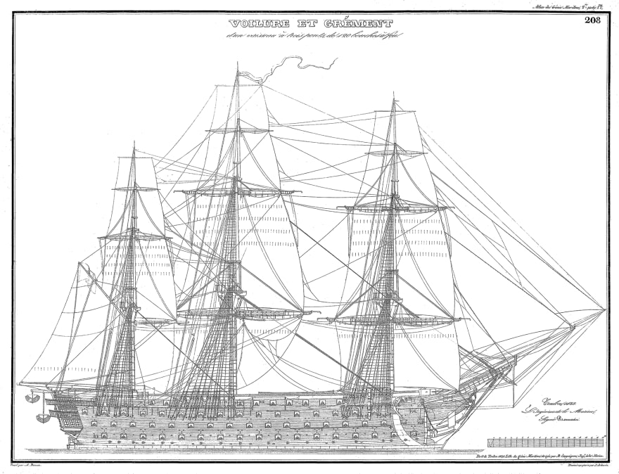 Blueprints of an 18th century ship