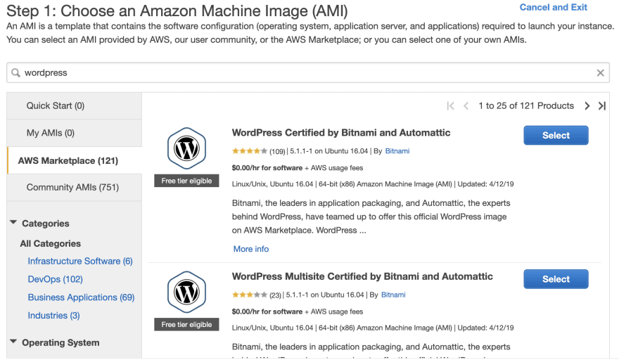 You can launch EC2 instances with Wordpress preinstalled