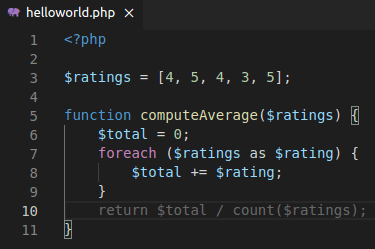 PHP code with function name that shows intent to compute an average (all code written)
