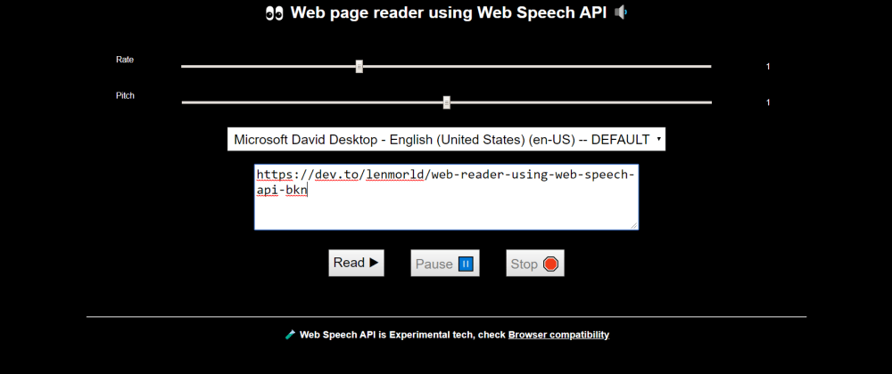 Cover image for 🗣 Web Reader using Web Speech API