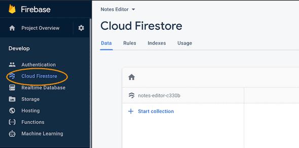 Firestore project console