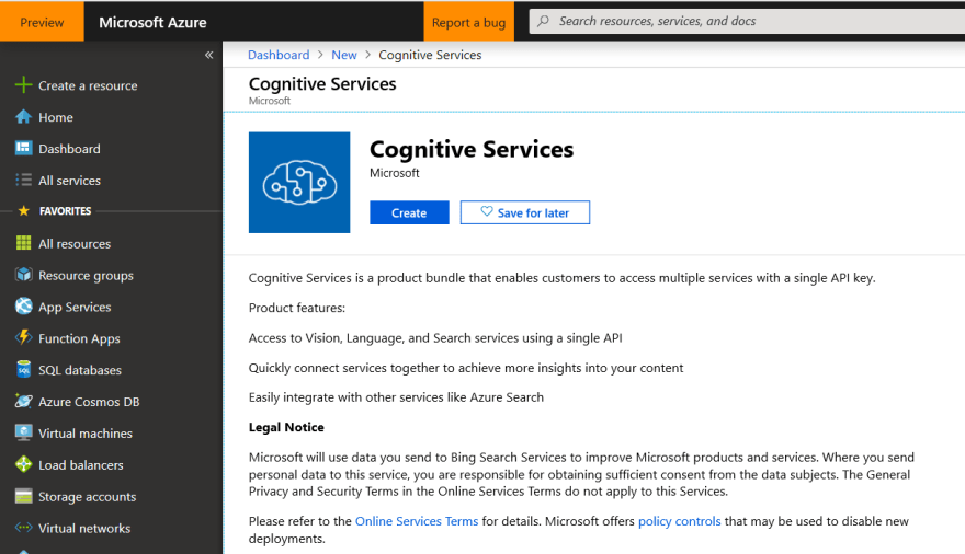 Create Cognitive Services Resource