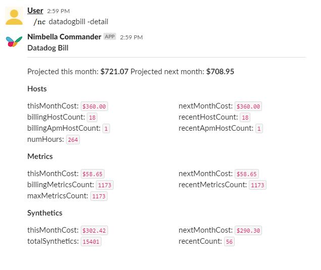 Datadog billing info for devops. Shows more details about your bill and upcoming bill on Slack