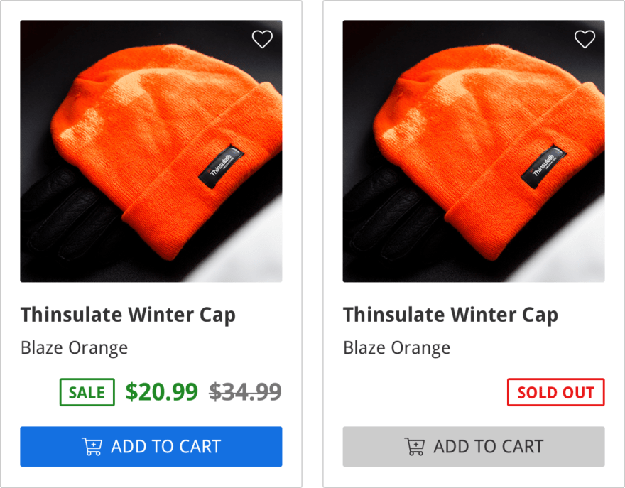 "ecommerce listing showing orange knitted winter hat, the name of item ""Thinsulate Winter Cap"", and the $20.99 sale price with a crossed out $34.99 price, and an ""add to cart"" button in blue, on the bottom"