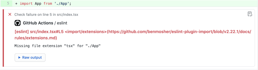 ESLint error annotation appearing in GitHub pull request