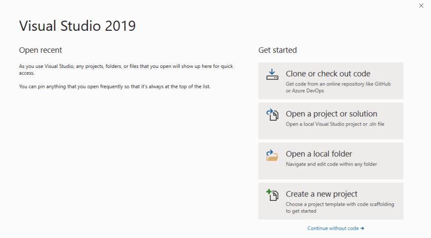 Visual Studio սկզբնական մենյուն