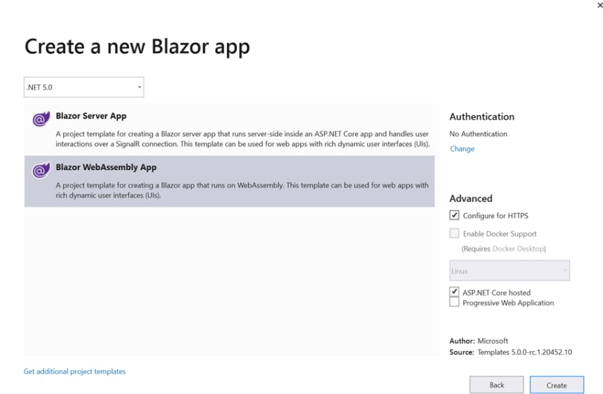 Select the Blazor WebAssembly App project template and select the ASP.NET Core hosted check box