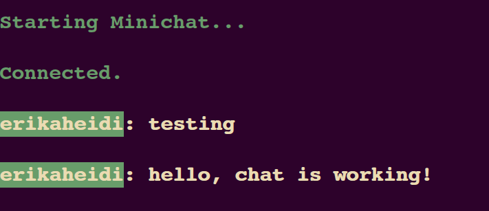 Output chat with colors