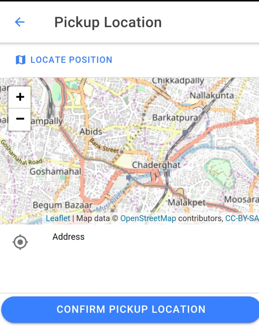 Pickup location page of the application