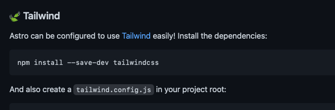 How to configure Astro to use Tailwind