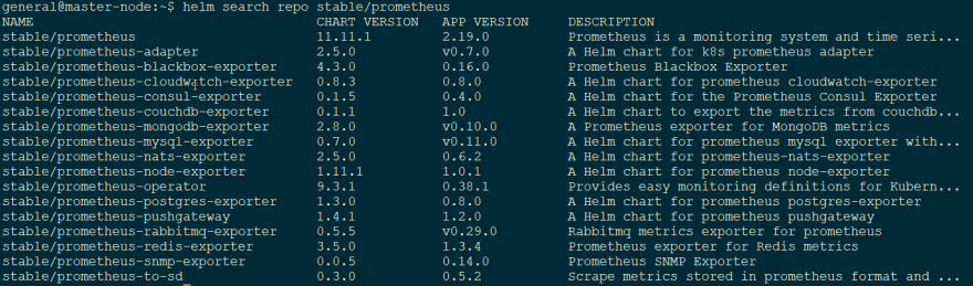 helm search repo stable/prometheus