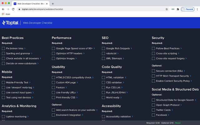 web-dev-checklist