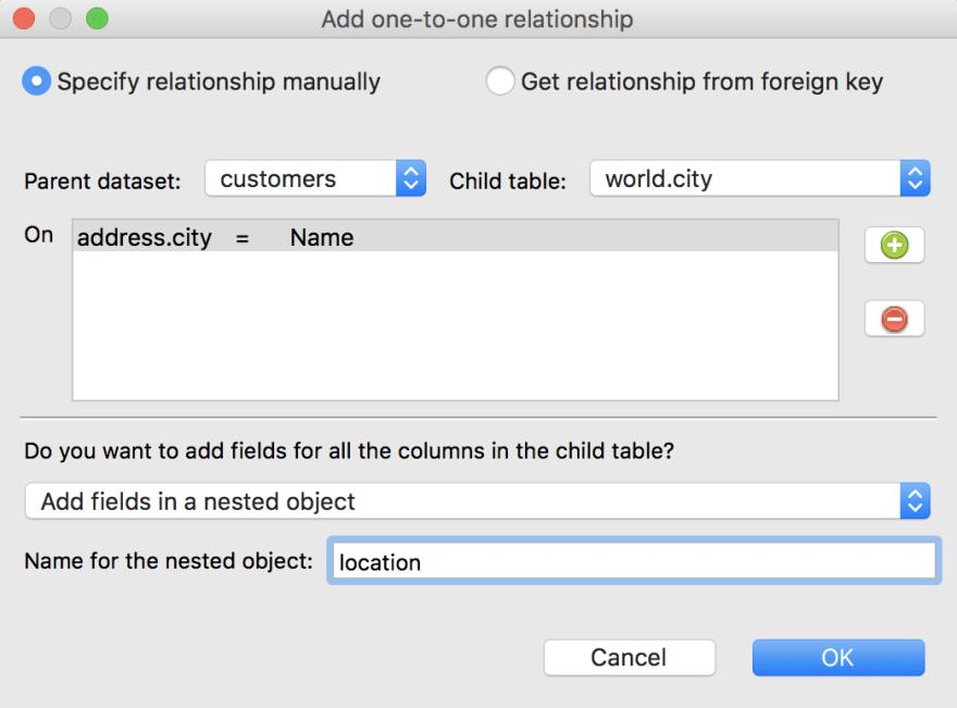 Specify relationship manually