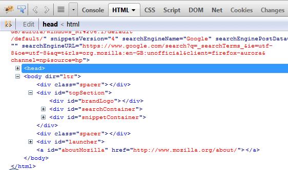 Firebug HTML Tree