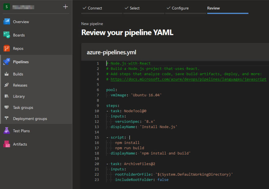 Screenshot of the automatically generated azure-pipelines Yaml file