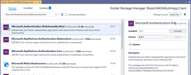 Install the NuGet package Microsoft.Authentication.WebAssembly.Msal