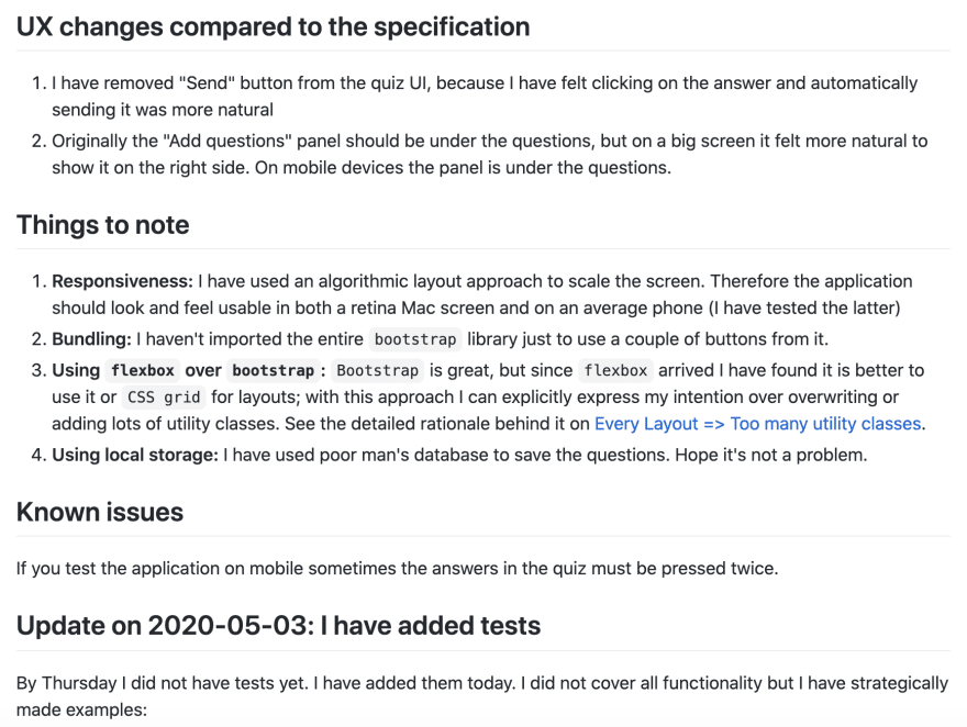 Explain your decisions in Readme.md