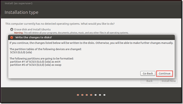Ubuntu setup and Install - Installation Type confirmation