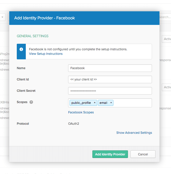 Add Identity Provider - Facebook