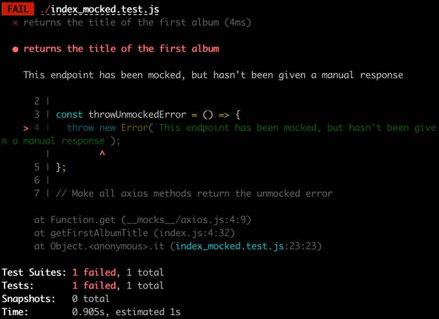 Jest unmocked output error screenshot