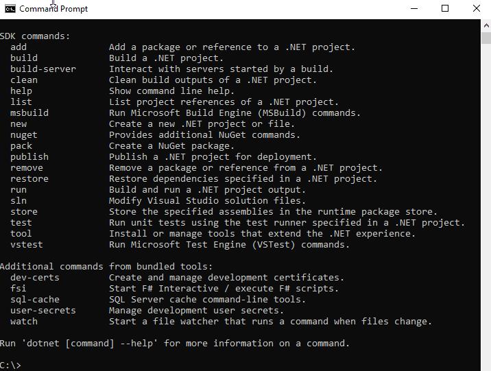 dotnet help command