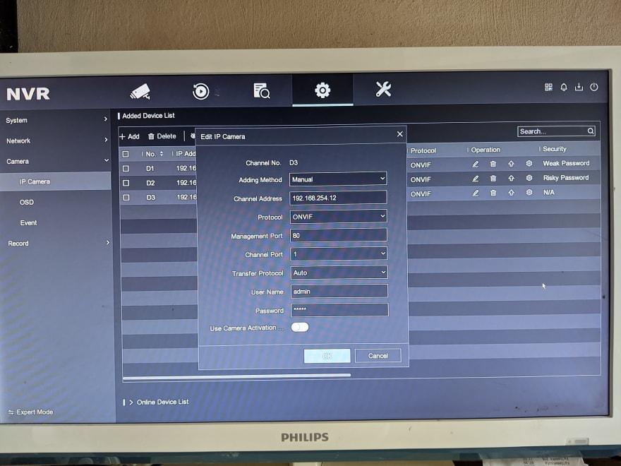 Hikvision setup screen