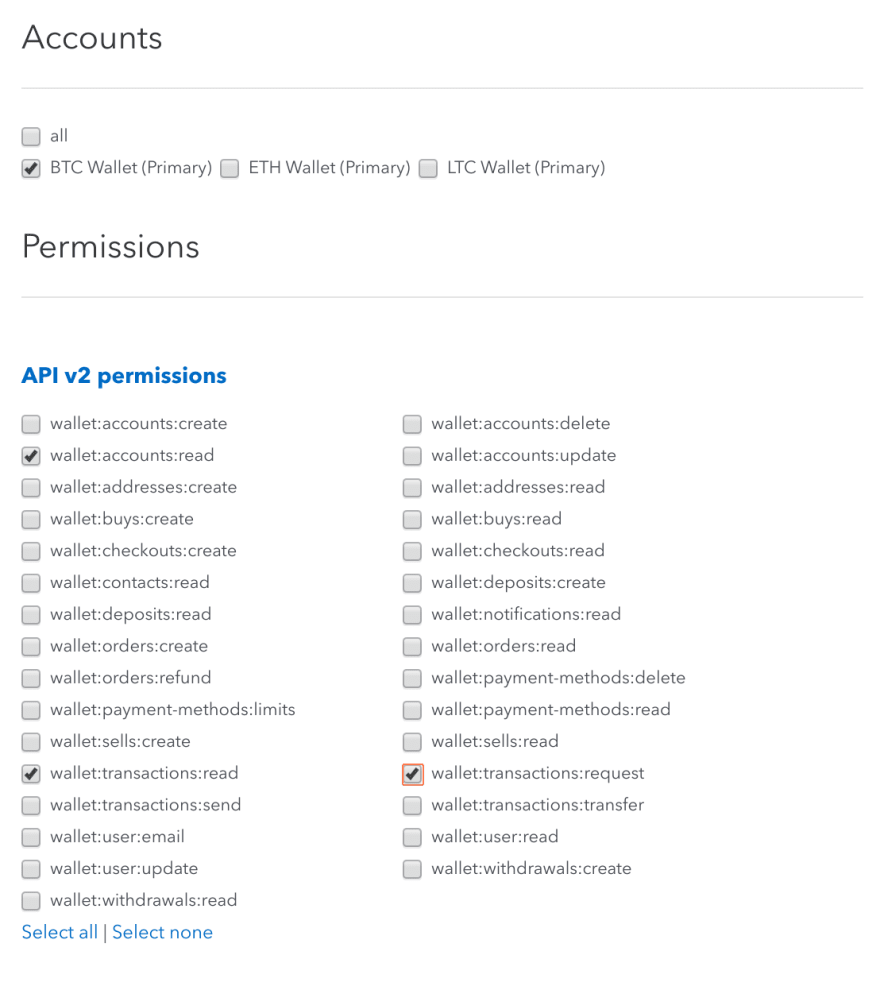 Coinbase API Key Options