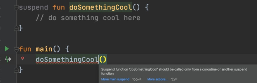 IDE showing a compile error when calling a suspend function from non-suspend context