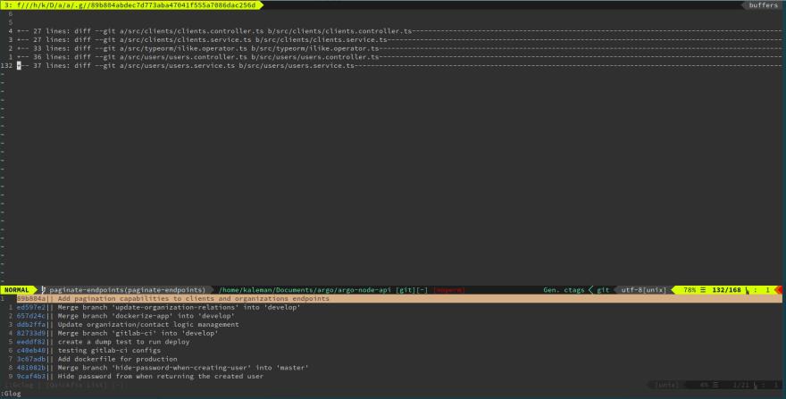 example git log ran from fugitive.vim