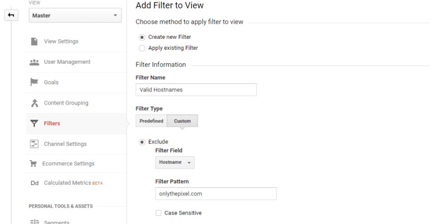 Filtering Including Hostname