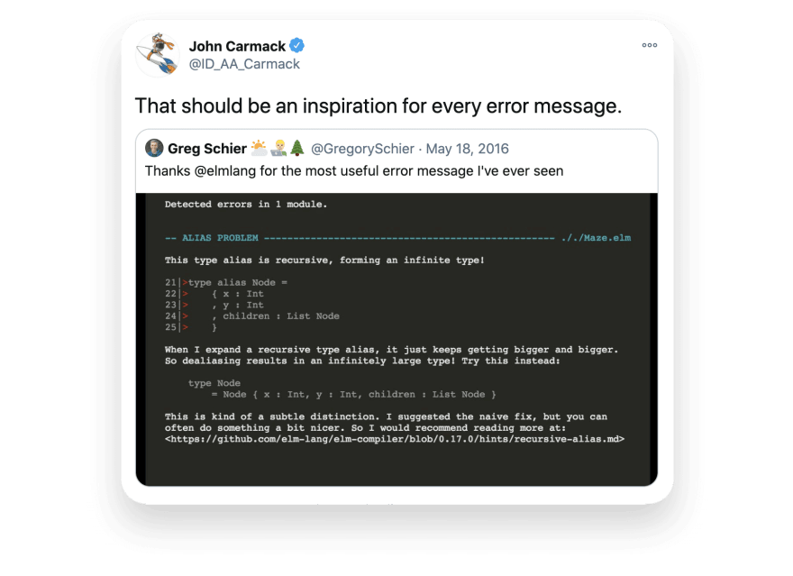 John Carmack on Elm Errors