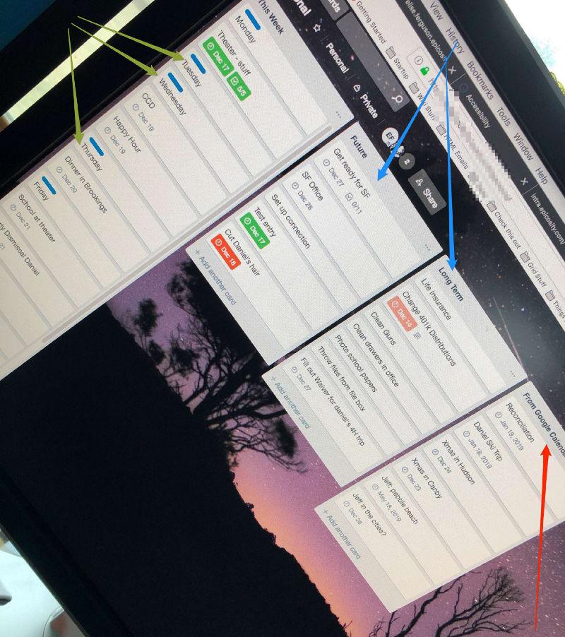 Screenshot of my trello screen