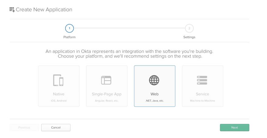 Create a new Web application