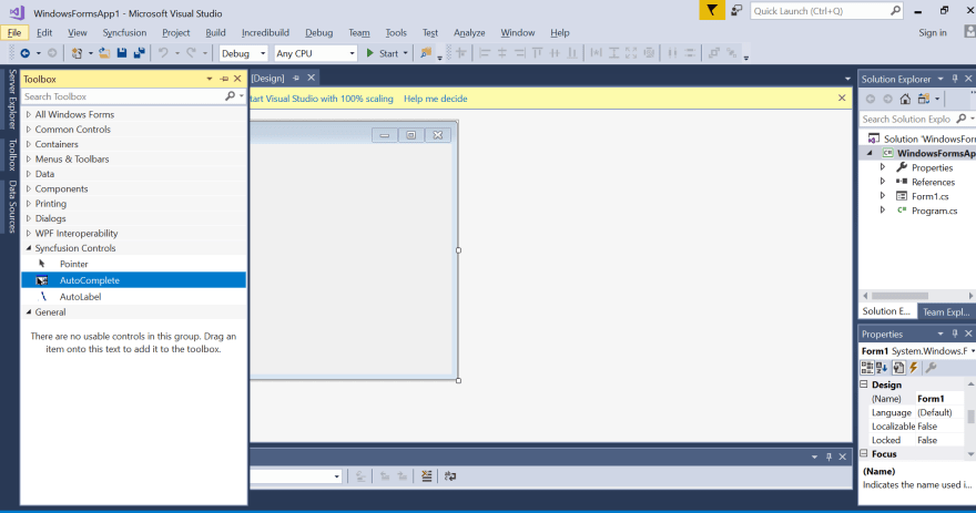 Displaying the selected controls in Visual Studio toolbox.