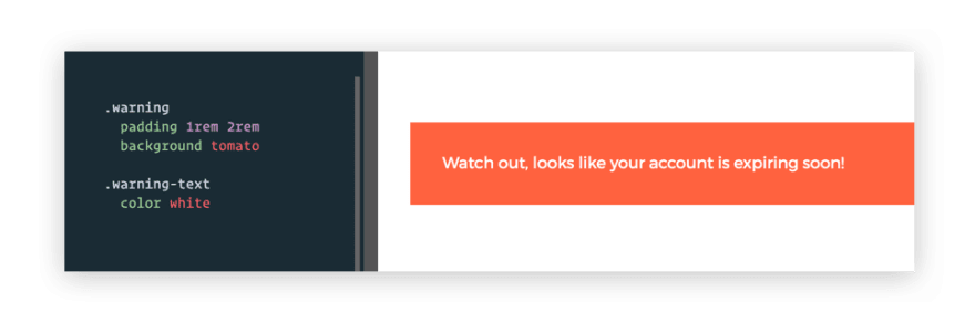 Warning UI built with traditional CSS